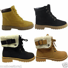 LADIES WOMENS GIRLS ANKLE BOOTS CASUAL FLAT LOW HEEL MILITARY ARMY WINTER SHOES