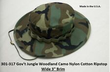 Military Boonie Hat Woodland Camouflage Ripstop GI Jungle Hat Made In The U.S.A