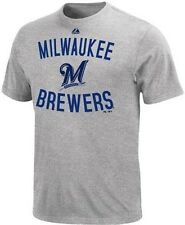 Milwaukee Brewers MLB Majestic Authentic Edge Gray Tee Shirt Big And Tall Sizes