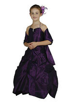 New Flower Girls Purple Plum Full Length Fancy Gown Dress Pageant Party 1026C