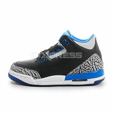 Nike Air Jordan 3 Retro BG [398614-007] Basketball Black/Sport Blue-Wolf Grey