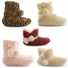 NEW LADIES DUNLOP FAUX FUR FURRY SLIP ON SOFT TEXTILE BOOTIES SLIPPERS SIZE 3-8