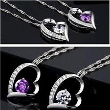Charming White Gold Plated Heart Crystal Pendant Necklace Chain Fashion Jewelery