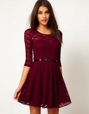 Full lace dress ladies put on a large sub-sleeve dress with belt 6195