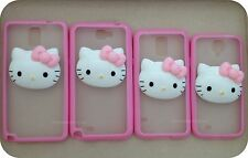 Hello Kitty Soft TPU Frame + Matte Clear Hard Back Case Samsung S5 S4 Note 2 3