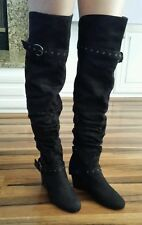 SM New York faux suede thigh high boots 3 inch wedge heels