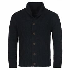 TS Heritage Mens Navy Blue Cable Shawl Neck Cardigan