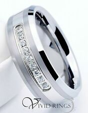 Mens Tungsten Carbide Wedding Band 9 CZ Ring 8mm Size 7.5 to 14.5