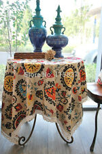 Sun Flower Lace Table cloth Cotton Linen Tea table Cloth Dining Table cover