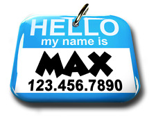 Hello My Name Is Baby Blue rectangle dog cat charm custom pet tag by ID4PET