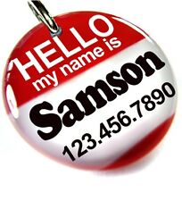 Hello My Name Is Red round dog cat charm custom pet tag by ID4PET