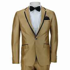 Mens Fitted Gold Shiny Suit Blazer Trouser Black Triming One Button Wedding