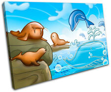 Dolphin Walrus Seal For Kids Room SINGLE CANVAS WALL ART Picture Print VA