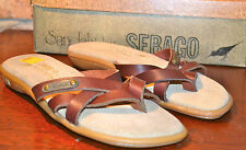 New Old Stock Sebago Brown Leather Sandals Flip Flops Womens Shoes