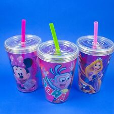 MINNIE MOUSE,PRINCESS, DORA,HELLO KITTY,13oz INSULATED TUMBLER CUP WITH STRAW