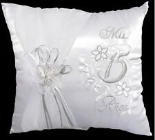 """Mis Quince Anos"" Quinceanera Embroidered 2Pcs White Pillow Set  (# EZPILLOW1)"