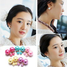 STUNNING HUGE DOUBLE SIDED PEARL SILVER PLATED EAR STUDS EARRINGS RUNWAY STYLE