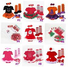 4PCS Baby Girls Christmas Party Romper Dress Sets Newborn Outfits 0-12M