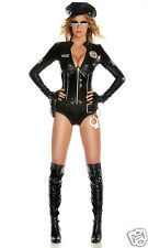 Sexy Forplay Mrs Officer Black Patrol Cop Police Bodysuit Uniform Costume 4pc
