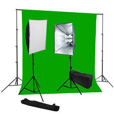 Studio 4 socket softbox 8 bulbs light kit chromakey green backdrop Support kit