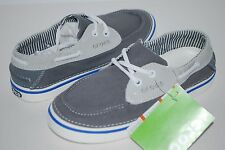 NWT CROCS HOVER BOAT CANVAS lace shoes 10 11 12 13 wmn men CHARCOAL GREY / WHITE
