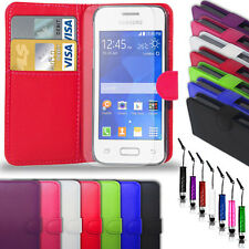 SAMSUNG GALAXY YOUNG 2 G130-PU LEATHER WALLET  CASE+ MINI STYLUS + SCREEN GUARD