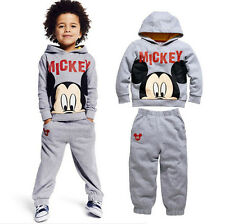 Cartoon Mickey Mouse Print Kids Boys Hoodies Pants Sets Cotton Outfits For 2-7Y