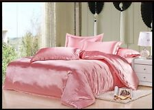 PINK SOLID 1000TC SATIN SILK FITTED/SHEET/DUVET SET CHOOSE SIZE & ITEMS