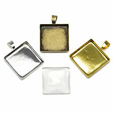 20x20mm Square Glass Pendant Cabochons Settings. Necklace Findings Blanks Cameo