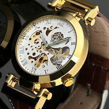 Fashion Men's Deluxe Gold Dial White Skeleton Mechanical Automatic Mens Watch