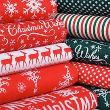MERRY CHRISTMAS green red trees snowflakes polycotton material - craft bunting
