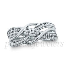 925 Sterling Silver Micro Pave Band White Clear CZ Women Engagement Wedding Ring