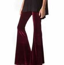 WINE VELVET JUNIORS LOW RISE WIDE FLARE BELL BOTTOM PANTS BOHO HIPPIE S-M-L