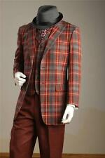 New Tony Blake Wine Plaid Window Pane 4 PC Fashion Dress Suit Vest 2 Pants Set