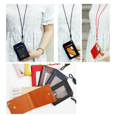 ID Card Holder Lanyard Wallet Necklace Strap bills Holder Synthetic Leather Gift