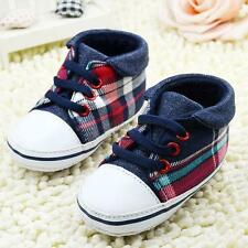 Cute Toddler Baby Boys Plaid Lace Up Shoes Soft Sole Baby Shoes Prewalker B37