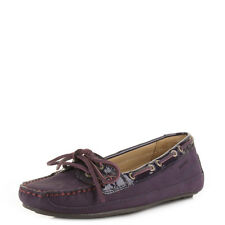 Womens Sebago Bala Dark Purple Leather Moccasin Deck Boat Shoes Size