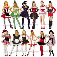 Womens Fancy Dress Outfits Cheerleader Pixie Riding Hood Sizes XS-XL