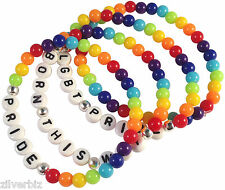 RAINBOW Bracelet Gay Lesbian Bi LGBT LGBTQ Pride 6mm Acrylic Beads on Elastic