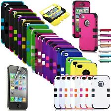 Hybrid Combo Rugged Rubber Matte Hard Case Cover iPhone 4 4S + Screen Protector