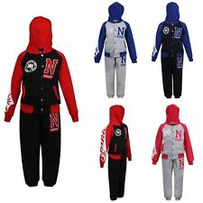 GIRLS BOYS TRACKSUIT N ATHLETIC NEW YORK VARSITY HOODIE BOTTOM JOG SUIT JOGGERS