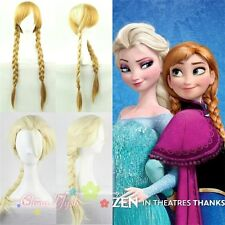 Kids Adult Frozen Elsa Blonde Anna Brown Long Weaving Braid Costume Cosplay Wigs