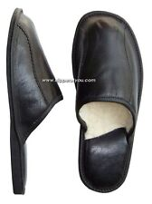 New Black Mens Leather Slippers Shoes Sheep's Wool Sheepskin UK size 6 - 11 SALE