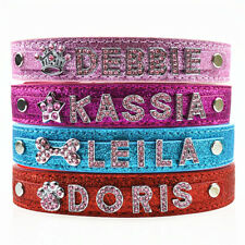 Cat Dog Puppy Pet Bling Personalized DIY Collars Free Name Pink Letters XS,S,M,L