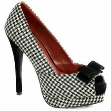 Pin Up Couture Bella 11 Peep Toe Heel Bow Houndstooth Retro Vintage Rockabilly