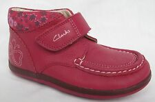 BNIB Clarks Girls Alana Fay Raspberry Leather Boots F, G & H Fitting