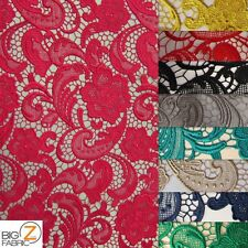 """ROSE FLORAL PAISLEY GUIPURE VENICE LACE FABRIC 50"""" WIDE BY YARD WEDDING DRESS"""