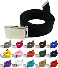 Military Style Webbed Canvas Belt Metal Silver Slider Buckle Choose Your Buckle