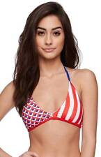 Hurley Stars & Stripes Triangle Swim Top Womens Red Blue Bikini Bathing Suit NWT