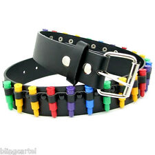Bullet Belt Black Leather Stud Rainbow Multi Color Bullets Metal Snap-On Buckle